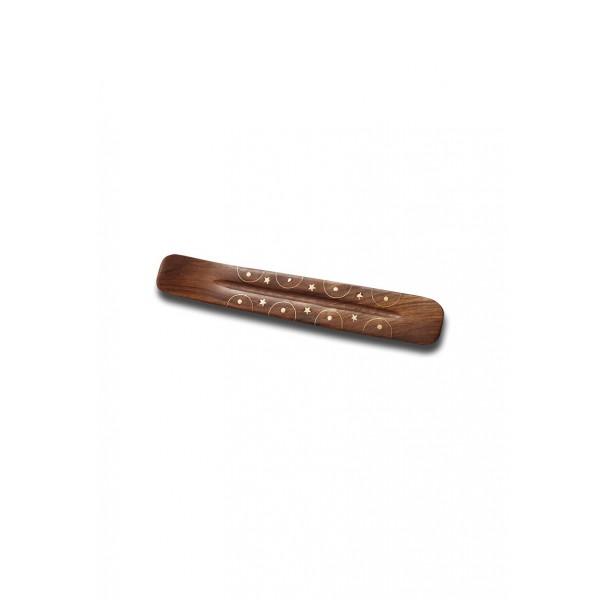 Räucherstäbchenhalter mit Messingintarsien 26 cm