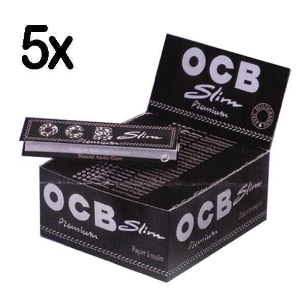 5 x OCB Schwarz Premium Slim Long Papers, 50er Box