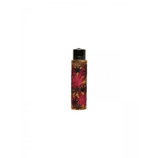 Clipper Feuerzeug Cork Cover Leaves #FF pink (Handgenäht)