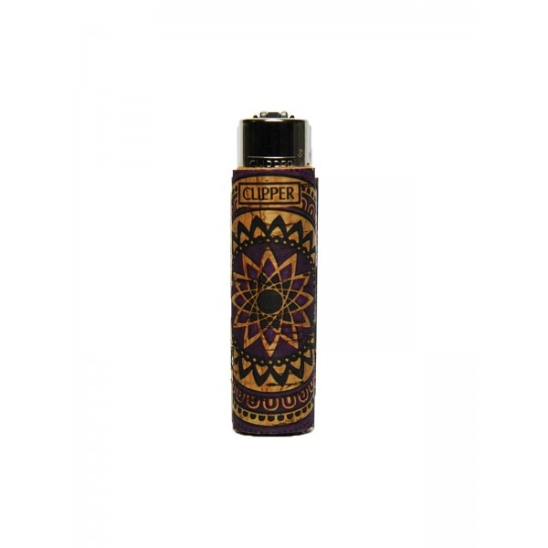 Clipper Feuerzeug Cork Cover Mandala #2 lila (Handgenäht)