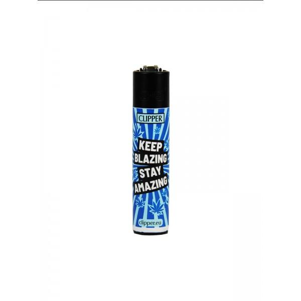 CLIPPER Feuerzeug Keep Blazing Stay Amazing blau