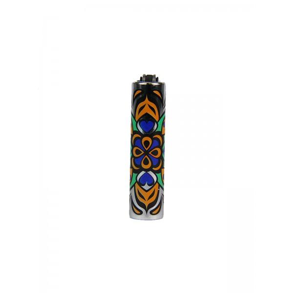 CLIPPER Feuerzeug Metal Cover Mandala lila-orange