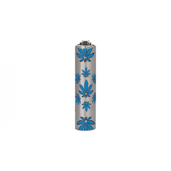 CLIPPER Feuerzeug Micro Metal Cover Leaves blau