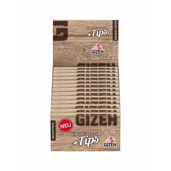 Gizeh Brown King Size Slim + Tips, 26er Großpackung