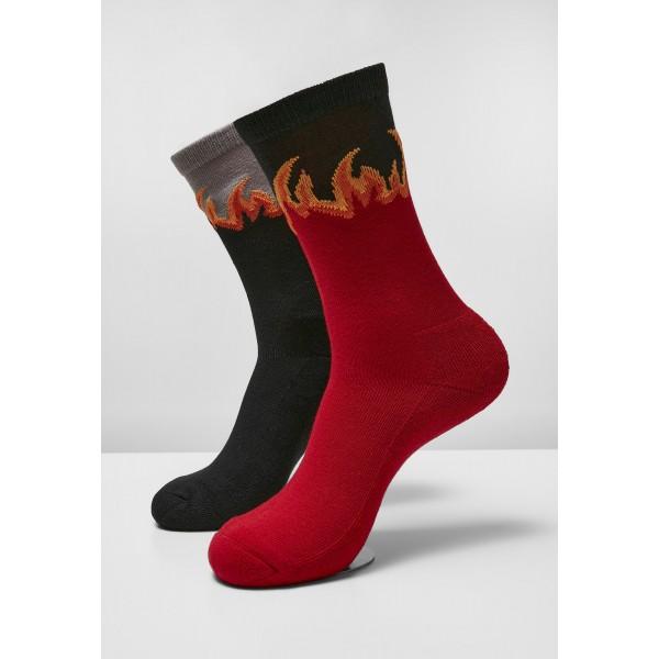 Long Flame Socks 2-Pack schwarz rot