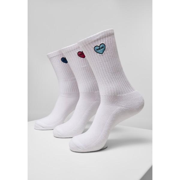 Heart Embroidery Socks Triple Pack weiß