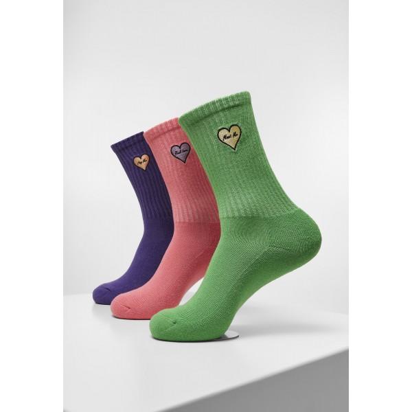 Heart Embroidery Socks Triple Pack lila, pink, grün