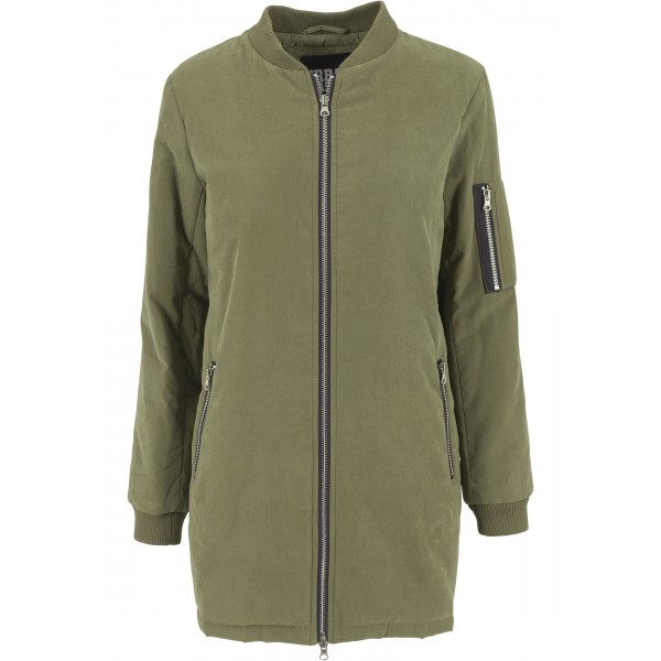 URBAN CLASSICS Ladies Peached Long Bomber Jacket olive