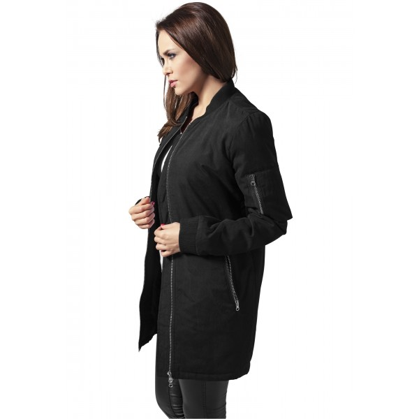 URBAN CLASSICS Ladies Peached Long Bomber Jacket schwarz