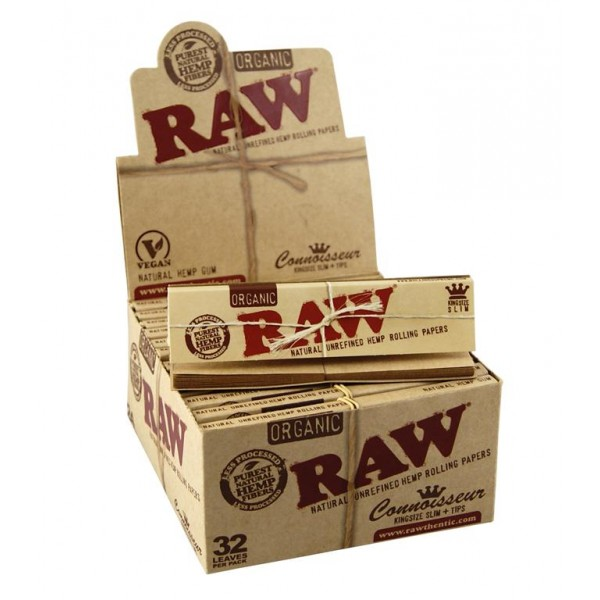 RAW Organic King Size Slim Connoisseur Papers + Tips, Großpackung