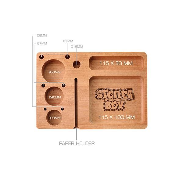 Heisenberg Rolling Tray 'StonerBox' 23x16 cm aus Buchenholz