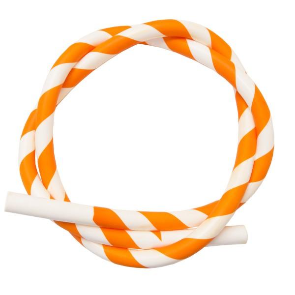 Silikon Shisha-Schlauch orange-weiss