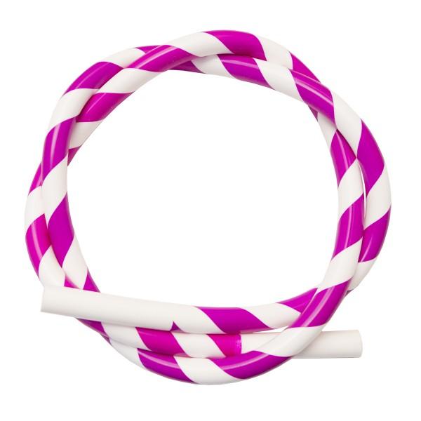 Silikon Shisha-Schlauch pink-weiss