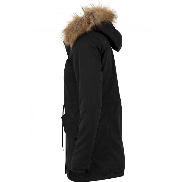 URBAN CLASSICS Ladies Sherpa Lined Peached Parka schwarz
