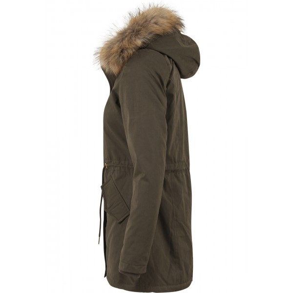 URBAN CLASSICS Ladies Sherpa Lined Peached Parka olive