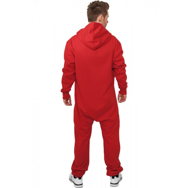 URBAN CLASSICS Jumpsuit Einteiler rot/weiß Back