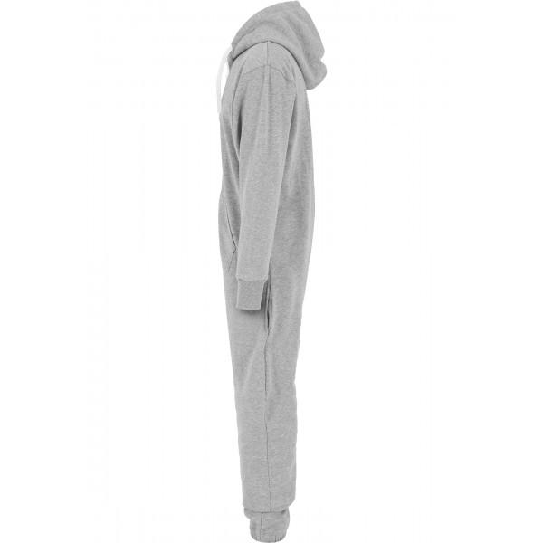 URBAN CLASSICS Jumpsuit Einteiler grau/weiß