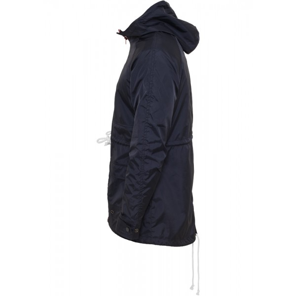 URBAN CLASSICS Long Nylon Windbreaker navy-ruby-weiß